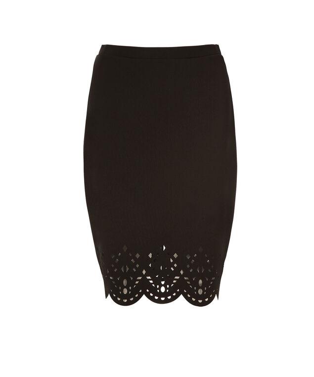 Laser Cut Skirt, Black, hi-res