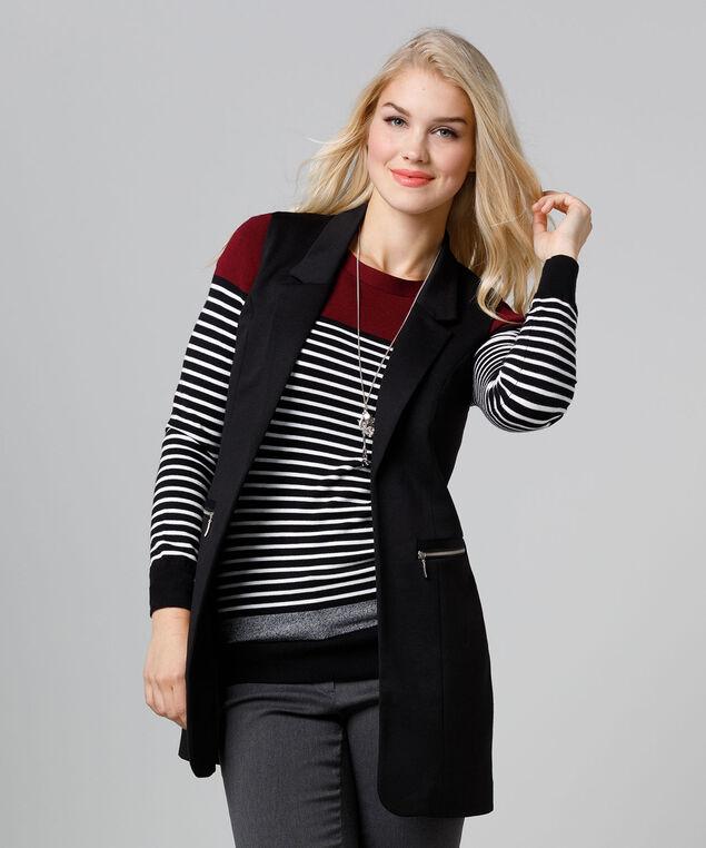 Tailored Knit Zipper Vest, Black, hi-res