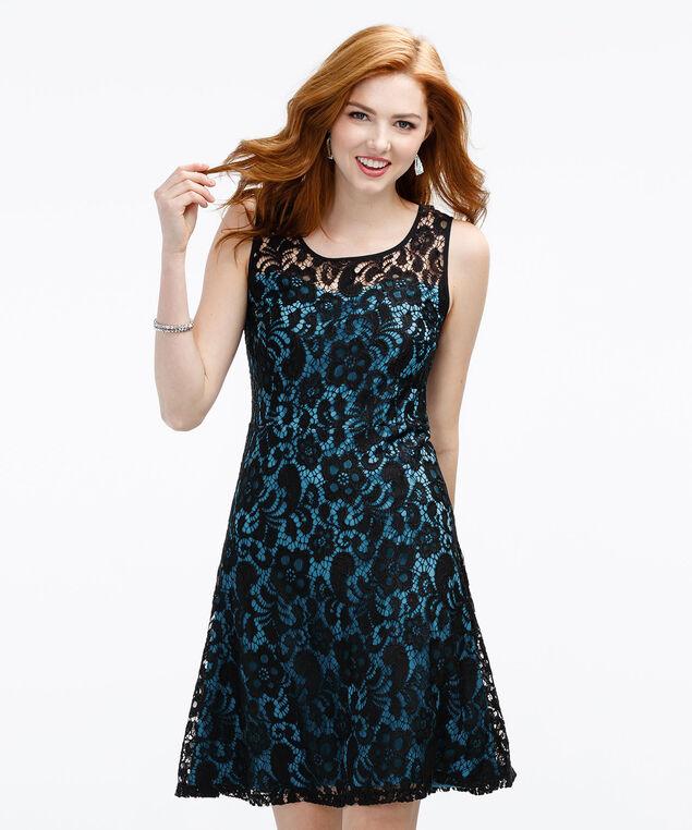 Illusion Neck Lace Dress, Black/Turquoise, hi-res