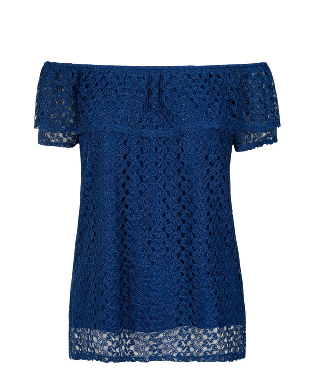 2-Way Lace Ruffle Top, Sapphire, hi-res