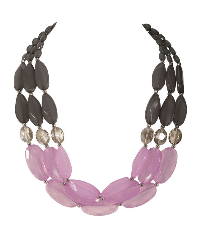 Large Stone Statement Necklace, Iced Violet/Grey/Rhodium, hi-res