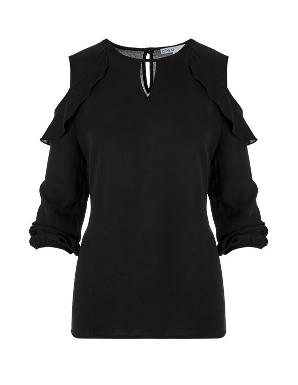 Ruffle Cold Shoulder Blouse, Black, hi-res
