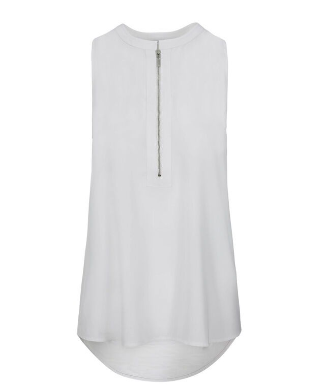 Zip Front Knit Tank, True White, hi-res