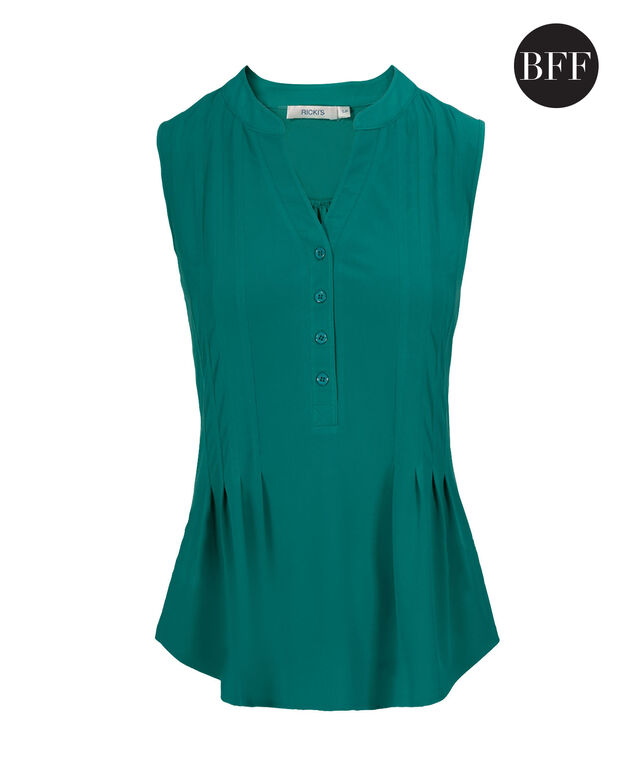 Sleeveless Pintuck Shirt, Tropical Teal, hi-res