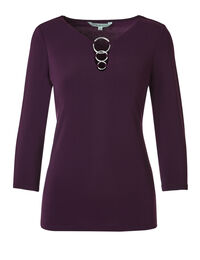 Deep Plum 3 Ring Top