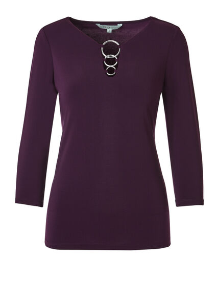 Deep Plum 3 Ring Top, Deep Plum, hi-res
