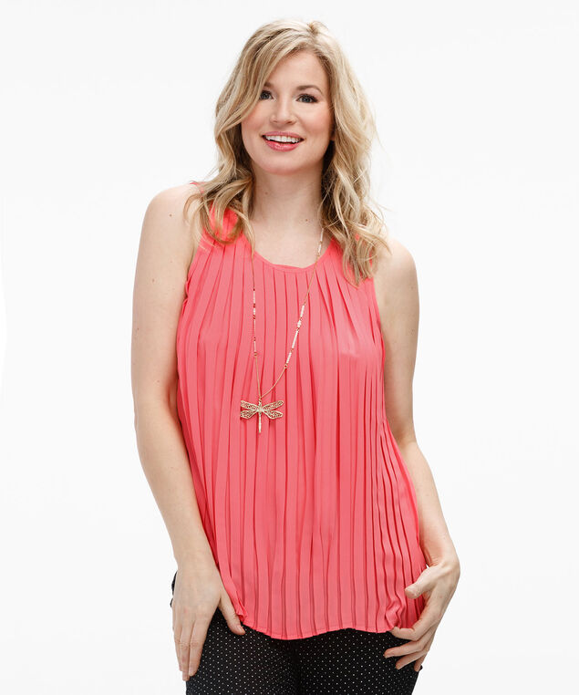 Sleeveless Pleated Tank, Light Coral, hi-res