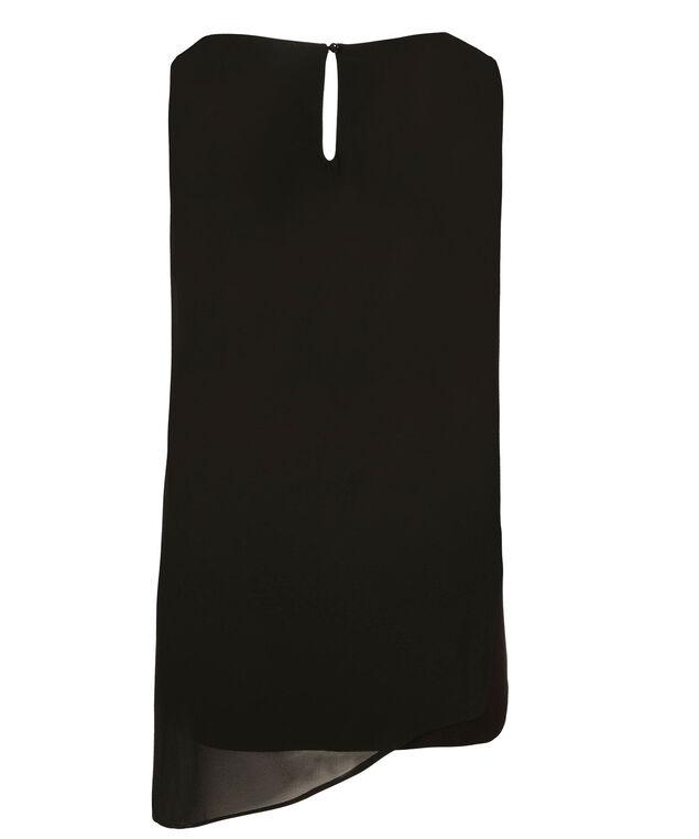 Asymmetric Woven Overlay Top, Black, hi-res
