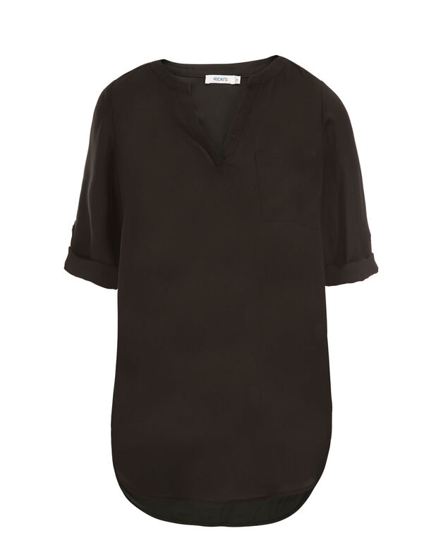 Roll Sleeve Henley Tunic, Black, hi-res