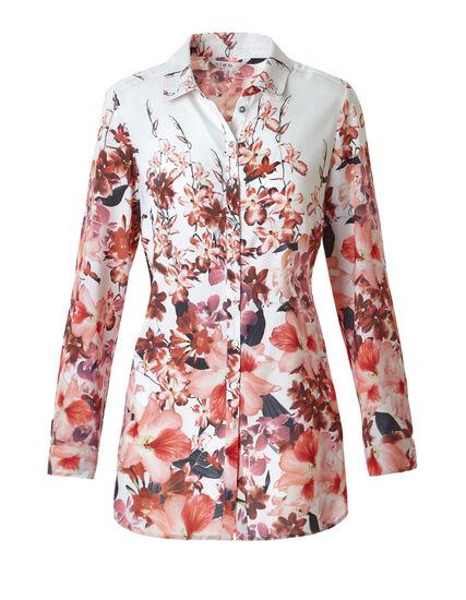 Pink Floral Button Blouse, Pink Floral Print, hi-res