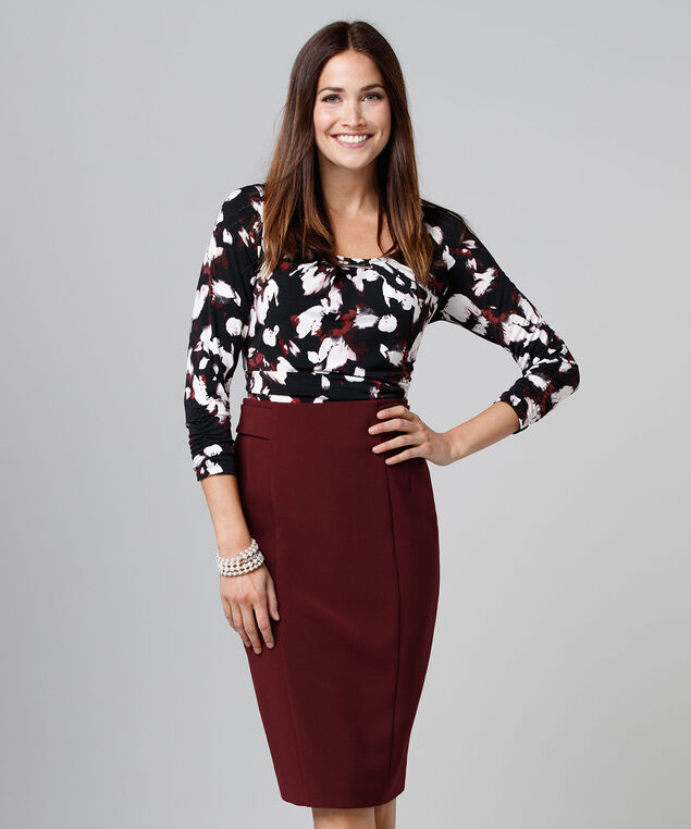 High Waist Pencil Skirt, Burgundy, hi-res