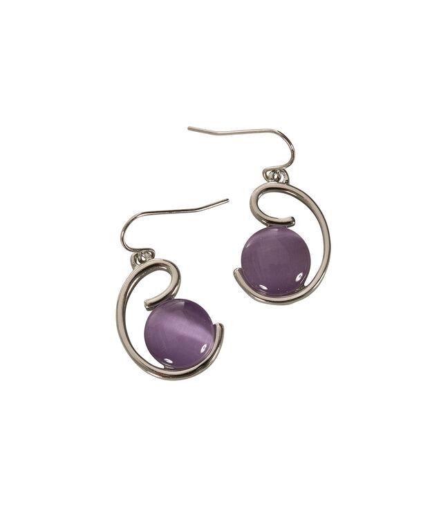 Cateye Swirl Earring, Lilac/Rhodium, hi-res