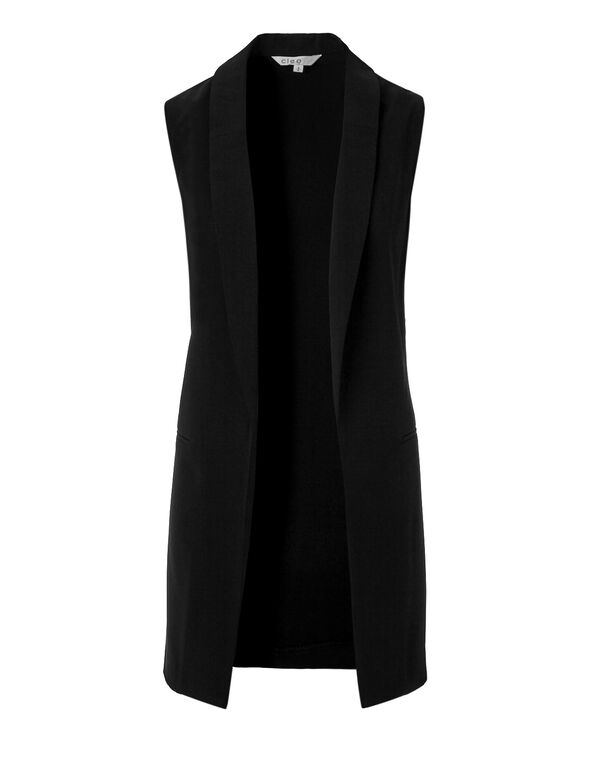 Black Open Vest, Black, hi-res