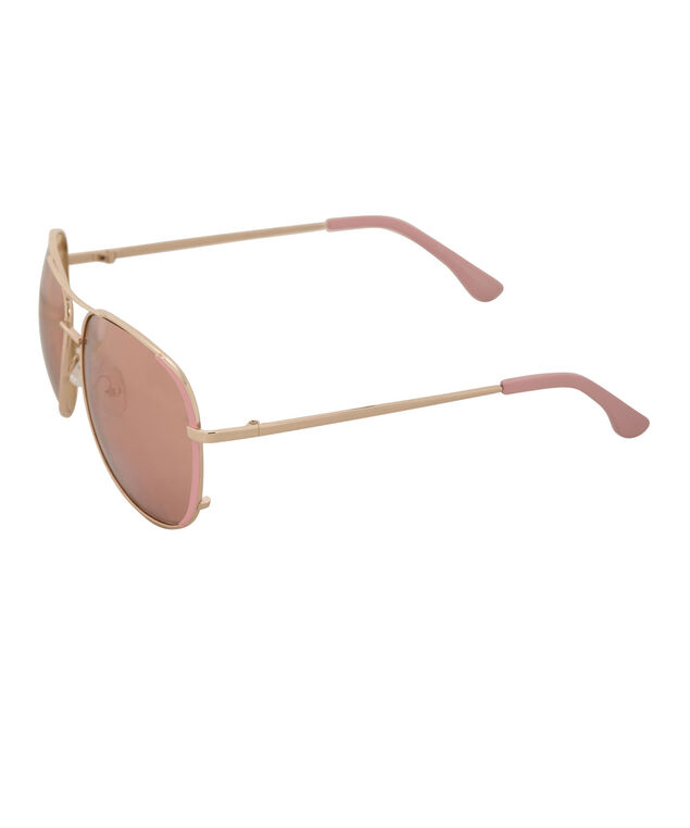 Pink Epoxy Aviator Sunglasses, Pink/Gold, hi-res