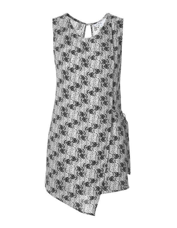 Black Print Wrap Front Blouse, Black/White/Grey, hi-res