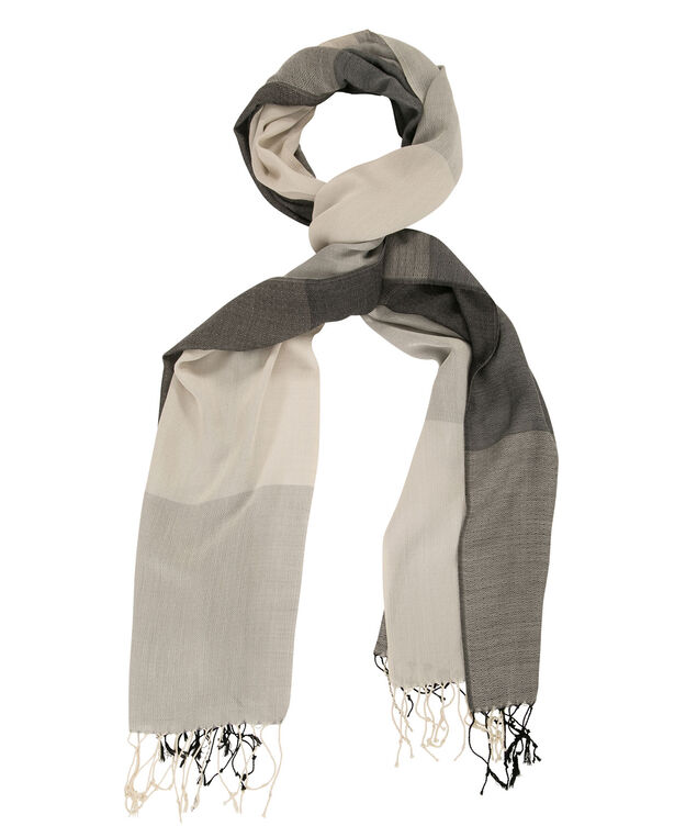 Textured Knit Plaid Scarf, Grey Combo, hi-res