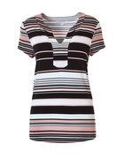 Black Stripe Split V-Neck Tee, Black/White/Soft Pink, hi-res