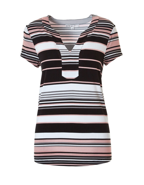 Black Stripe Split V-Neck Tee, Black/White/Soft Pink, hi-res