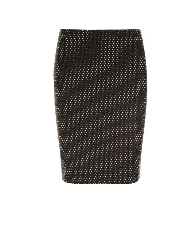 Pull On Pencil Skirt, Black Polka Dot, hi-res