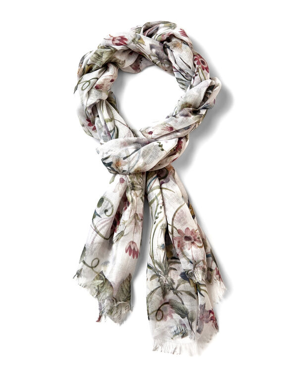 White Floral Oblong Scarf, White/Olive/Clay, hi-res