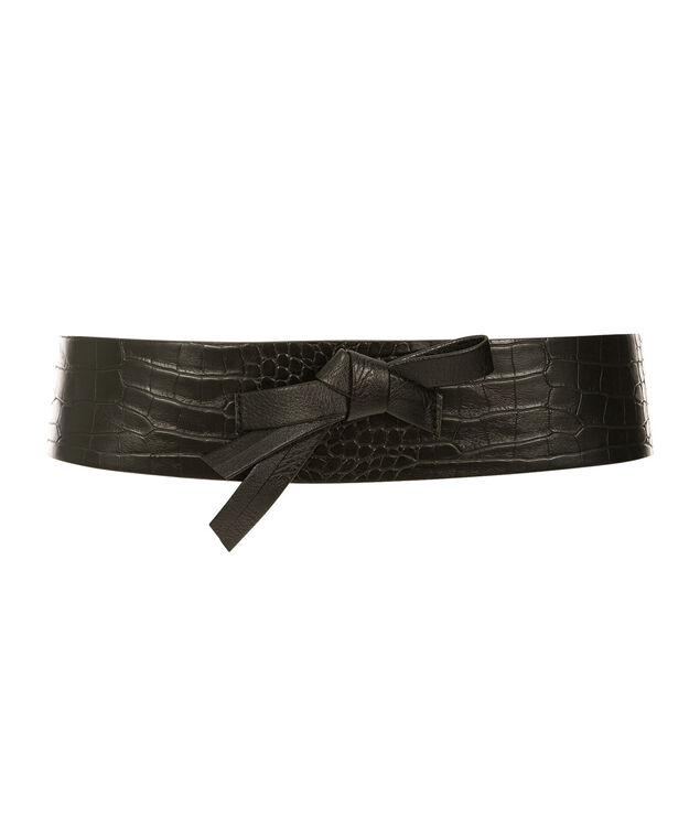 Textured Bow Front Belt, Black, hi-res