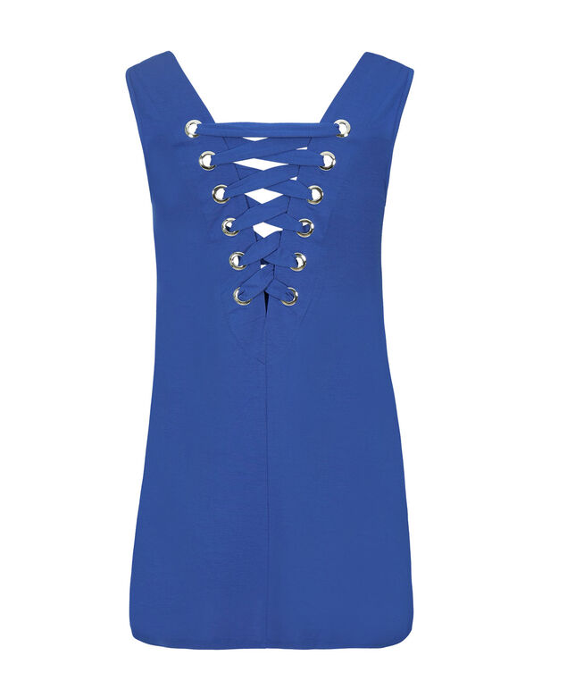 Grommet Back Tank, Blue, hi-res