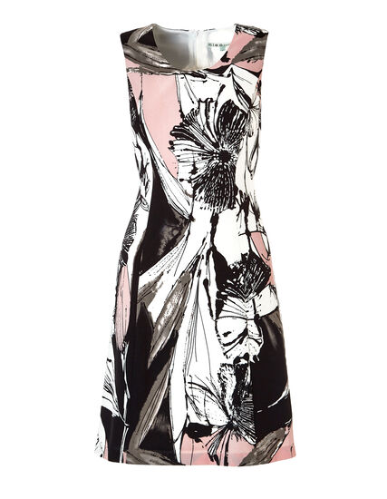 A-Line Floral Dress, Soft Pink/White/Black, hi-res