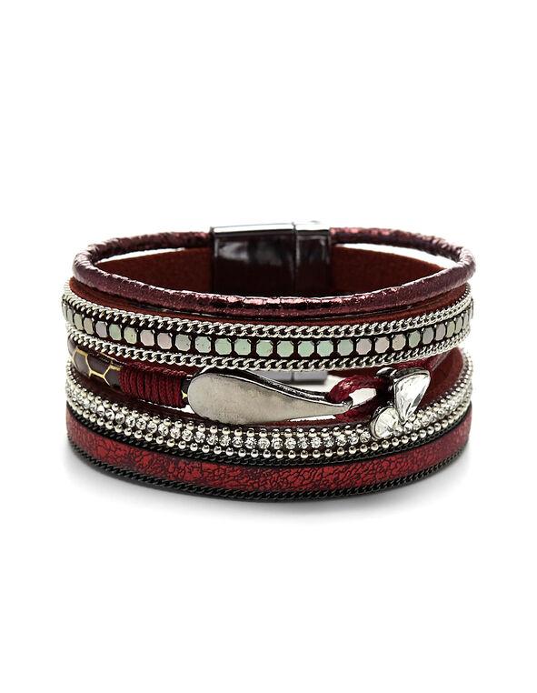 Red Wrap Bracelet, Red, hi-res