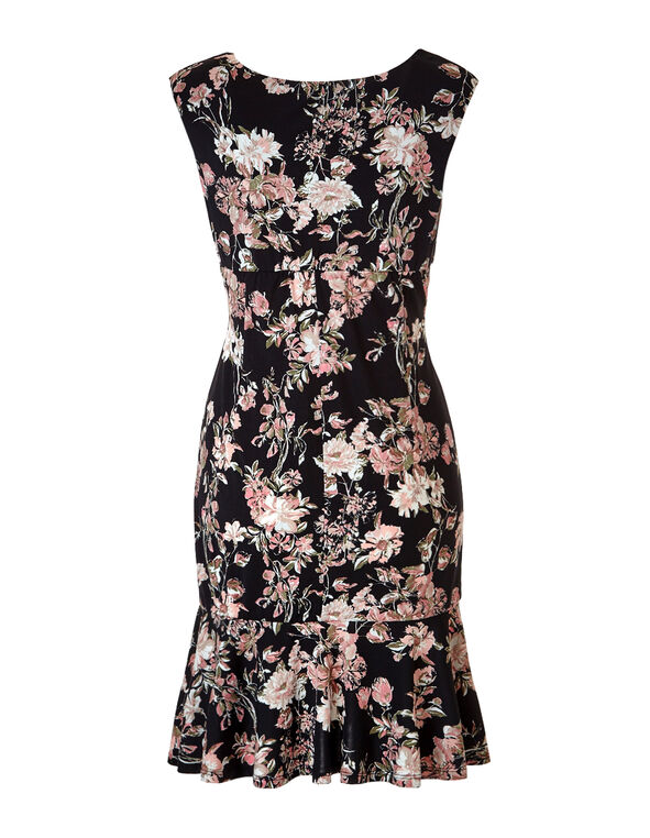 Floral Fit and Flare Flounce Dress, Soft Pink/Black/Olive, hi-res