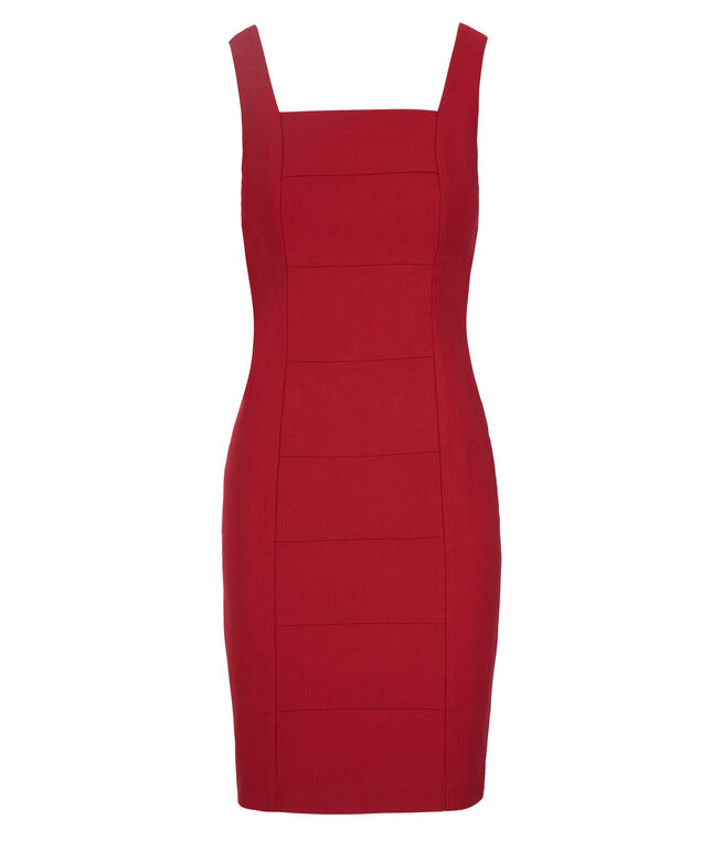 Banded Microtwill Dress, Red, hi-res