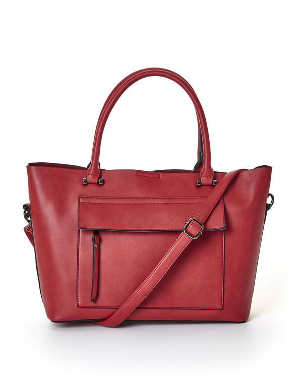 Two In One Red Tote Satchel, Red, hi-res