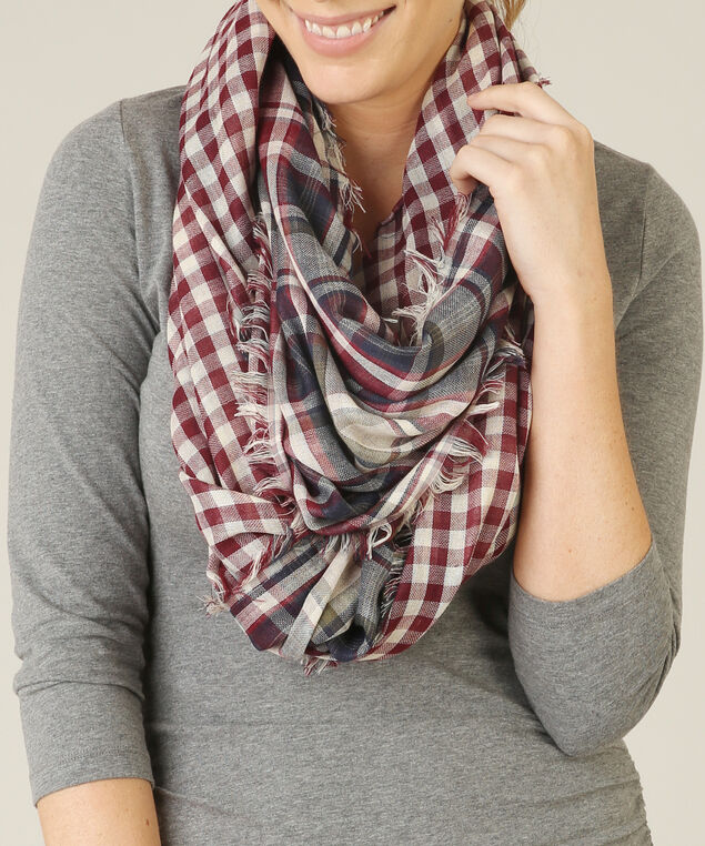 gingham eternity scarf, PORT PLAID, hi-res