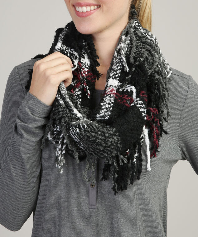 infinity scarf with fringe, CRANBERRY/WHITE, hi-res