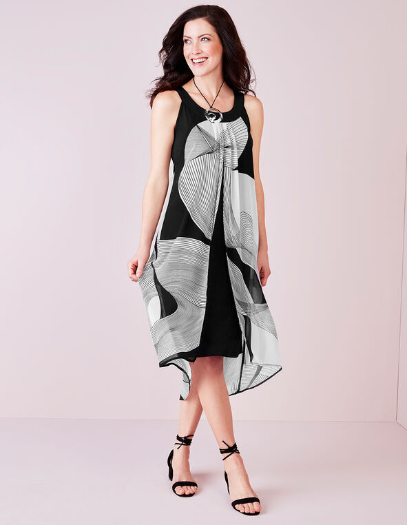 Black Geometric Overlay Dress, Black/White, hi-res