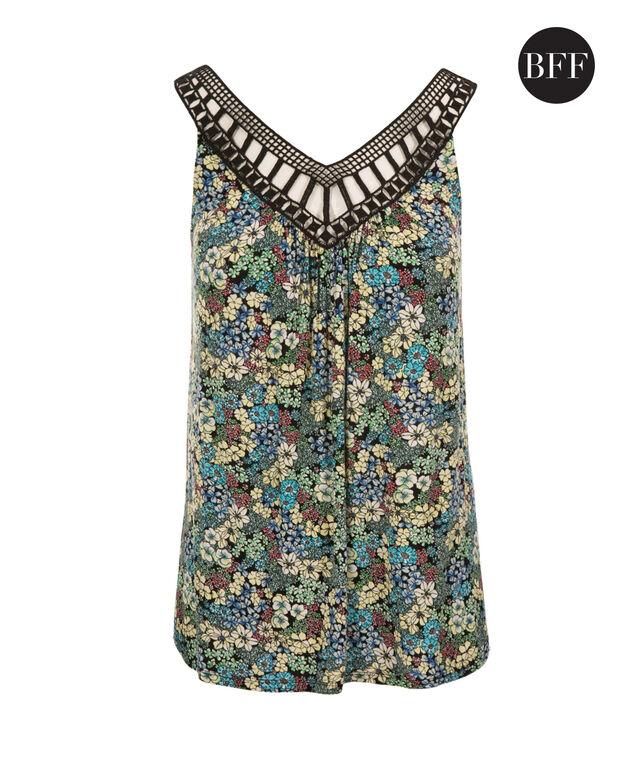 Crochet Trim Tank, Green Print, hi-res
