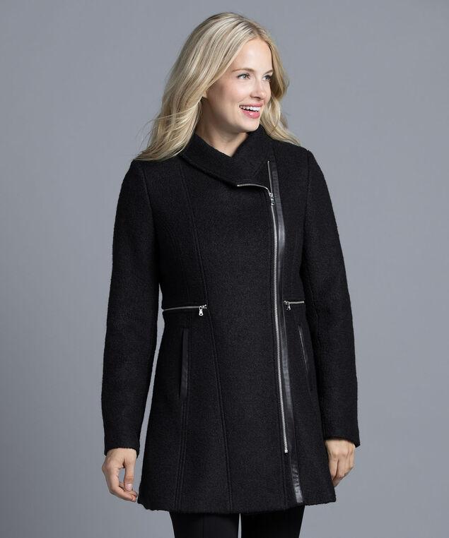 Boucle Fit & Flare Coat, Black, hi-res