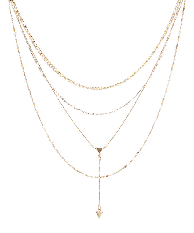 mixed length geo pendant, GOLD, hi-res