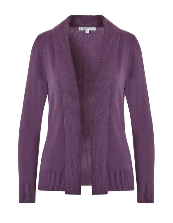 Tangled Plum Mid Ribbed Cardigan, Tangled Plum, hi-res