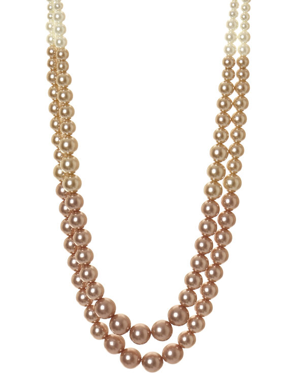 Neutral Pearl Necklace, Pearl/Nude/Copper, hi-res