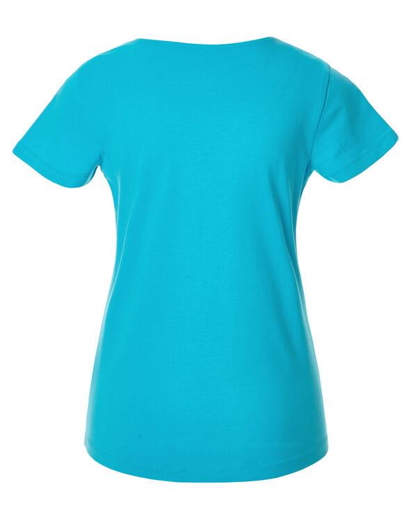 Light Turquoise V-Neck Tee, Light Turquoise, hi-res