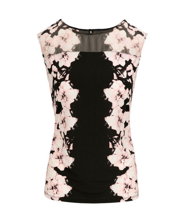 Illusion Neck Floral Top, Black Pattern, hi-res