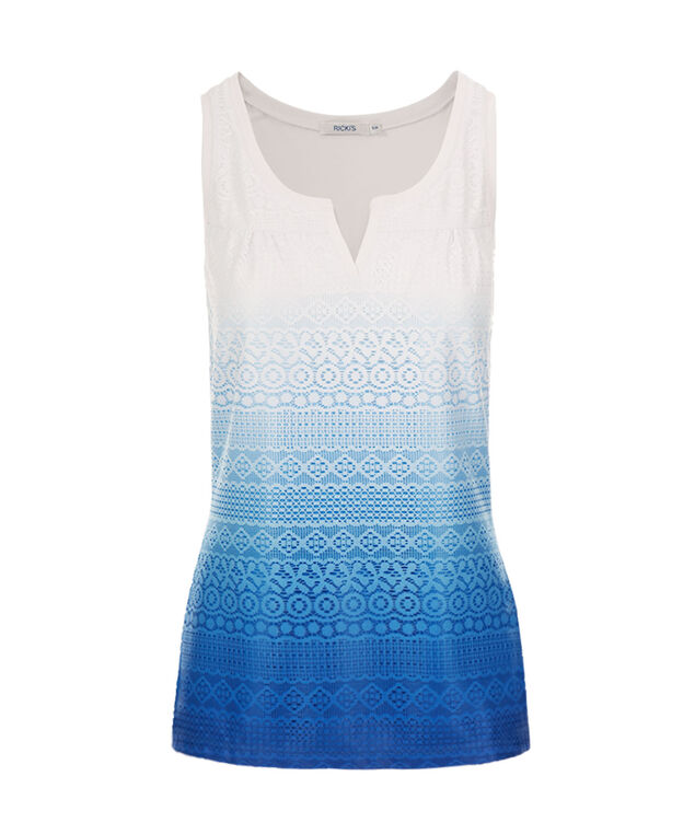 Crochet Notch Neck Tank, Marine Blue Print, hi-res
