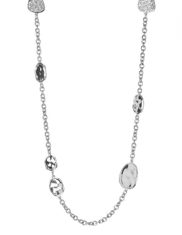 Hammered Pavé Long Necklace, Hematite, hi-res