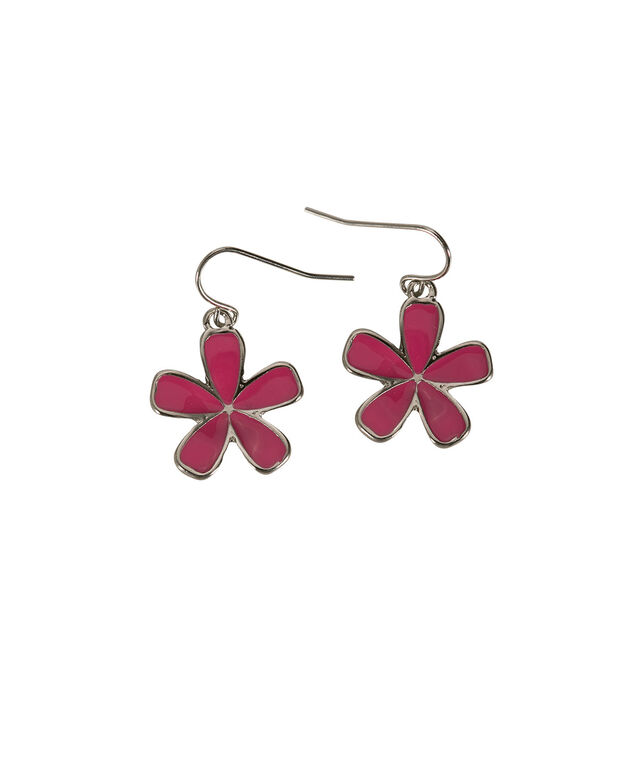 Painted Epoxy Flower Earring, Strawberry Daiquiri/Rhodium, hi-res