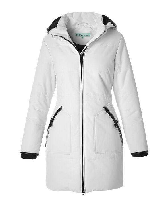 White Long Poly Fill Coat, White, hi-res