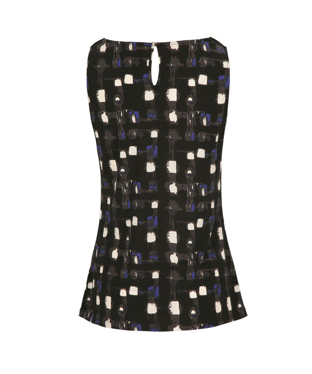 Pleated Tank, Black Pattern, hi-res