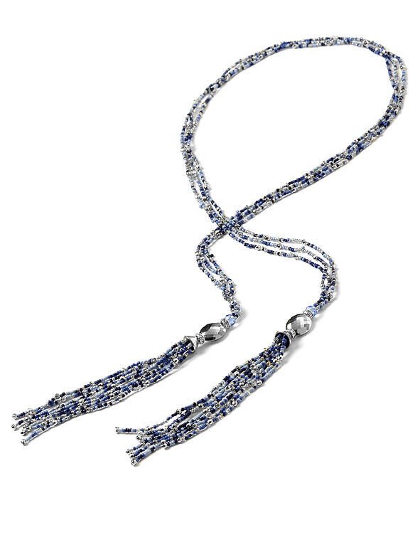 Blue Lariat Tassel Necklace, Blue/Silver, hi-res