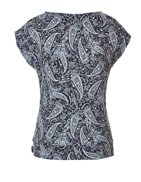 Paisley Print Side Tie Top, Navy/White/Washed Blue, hi-res