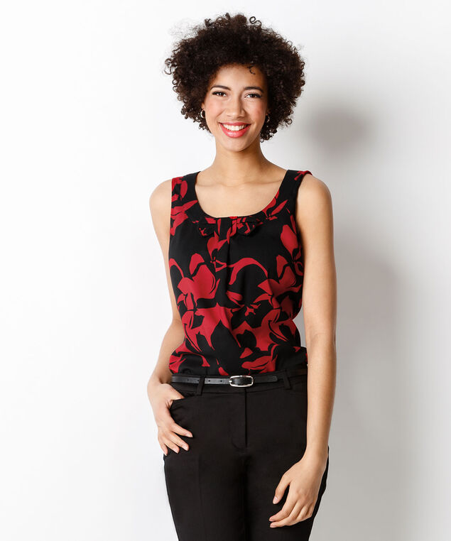 Bow Front Blouse, Red Print, hi-res