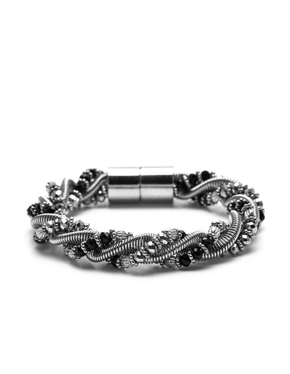 Black Silver Twist Bracelet, Silver/Black, hi-res
